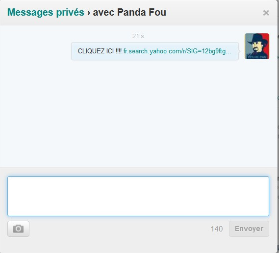 Twitter  Interactions lien en mp