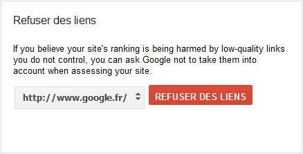 désavouer un lien dans google webmaster tool